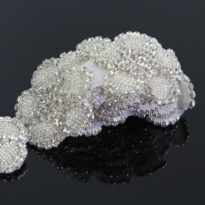 1Yard White Crystal Rhinestone Sew On Trim Horse Browband Craft Applique 0c0fd176a011