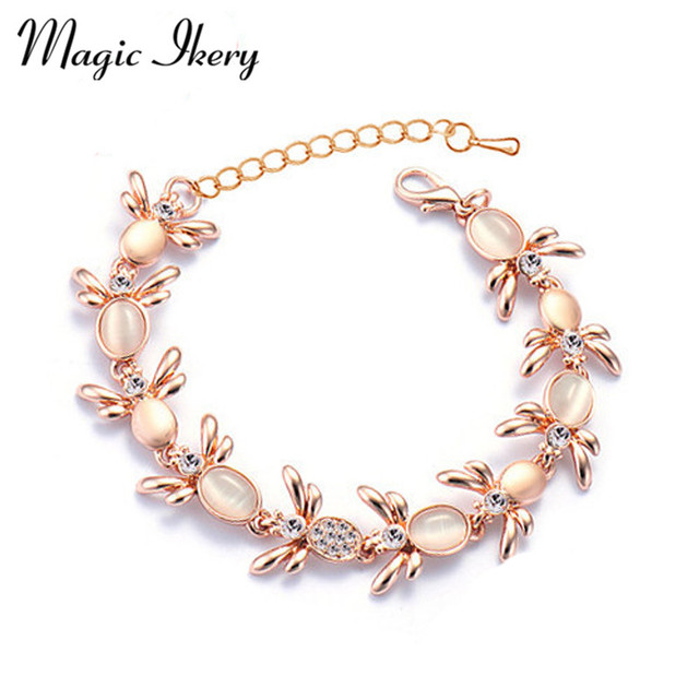 Magic Ikery Rose Gold Color Austrian Crystal Opal Korea Bee Bracelets Bangles Fashion Jewelry For
