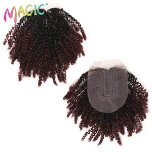 """Image 4 - 14""""Inch Ombre Hair Blonde Afro Kinky Curly Hair Weaving 7pcs/Lot Synthetic Hair Extensions 6Bundles With Closure For Black Women"""
