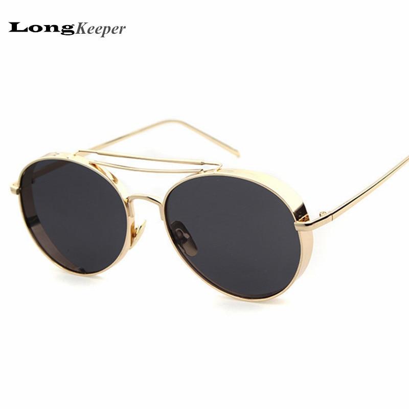 39805d4ab6389 LongKeeper 2017 Steampunk Sunglasses Men Espelhado Designer Marca Óculos de  Sol Do Vintage óculos de Metal Frame Da Liga Eyewares