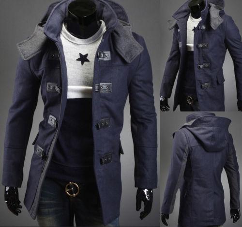 Online Shop Men's Fashion Navy Blue Hooded Winter Warm Long Cool ...