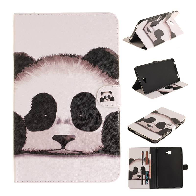 Fashion Tablet case Folding Flip PU Cover for Samsung Galaxy Tab A 10.1 2016 T580 T585 T580N T585N Protective Skin Case + Film