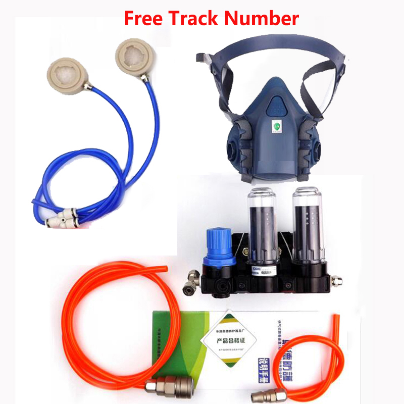 Function Supplied Air Fed Respirator System With 3M 7502 Half Face Paint Spraying Respirator Gas Mask 11 in 1 suit 3m 6200 half face mask with 2091 industry paint spray work respirator mask anti dust respirator fliters