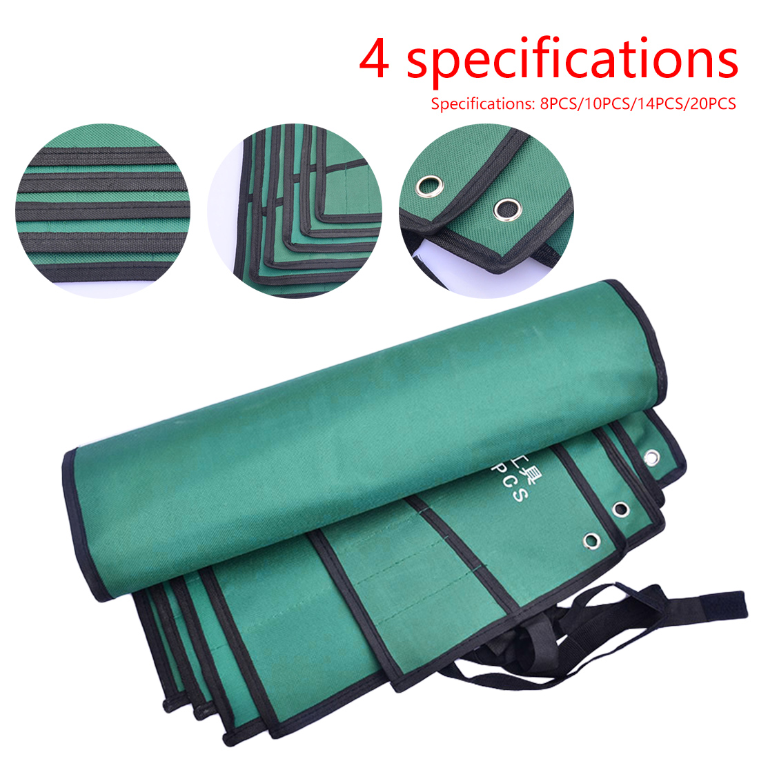8/10/14/20 Pockets Double Opening Offset Ring Spanner Kit Case Tool Bag Spanner Wrench Roll Up Storage Organizer Bag Pouch