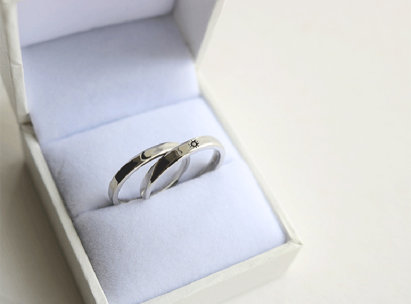 Silver Ring Simple Style Moon Sun Adjustable 925 Couple Rings For Girls Boys Best Friend Jewelry 10