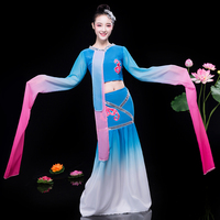 Sexy Elegant Folk Dance Clothing Chinese Style Stage Performance Clothes Traditional Women Water Sleeve Yangko Dance Costume