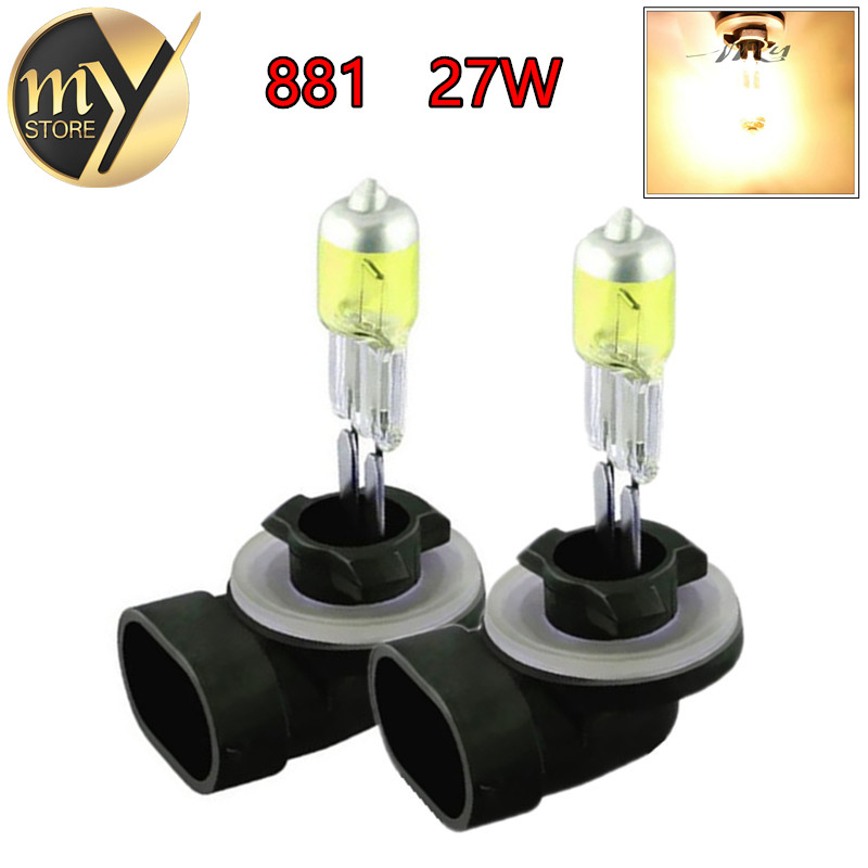 2PCS 881 894 H27 Halogen Bulbs 27W Headlights fog lamps light running parking 12V day Car Light Source DRL Daytime Yellow Amber