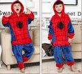 New Kids macacão pijamas do bebê meninos meninas pijamas outono crianças inverno flanela Animal engraçado ponto Animal pijamas Spiderman