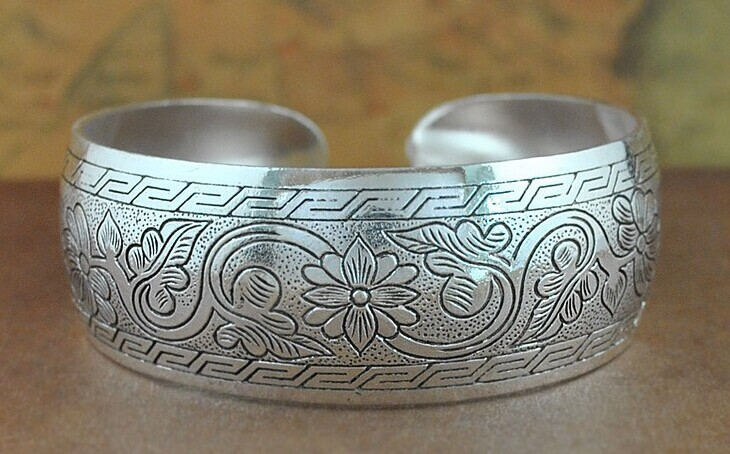 DROP SHIP HOT FLOWER Bohemian Antalya bangles,antique Silver plated carve pattern Statement, Boho Coachella,