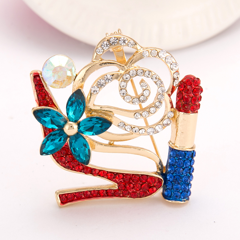 Lovely SUTEYI Crystal High Heel Shoes Lipstick Brooches Charms Women Wedding Brooch  Collar Hijab Pin Up Islam Muslim Broach Jewelry  In Brooches From Jewelry  ...