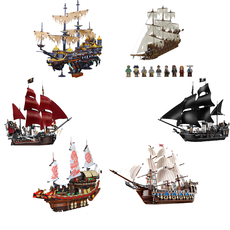LEPINE 16006 16016 Pirates of The Caribbean 16009 Queen Anne's Revenge 16042 22001 06057 Model Movie Series Building Blocks Set lepin 16009 caribbean blackbeard queen anne s revenge mini bricks set sale pirates of the building blocks toys for kids gift