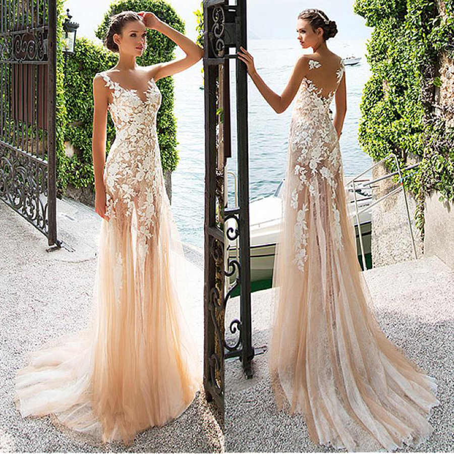 Marvelous Lace Bateau Neckline See through Sheath Wedding Dresses With Lace Appliques Champagne Bridal Dress with