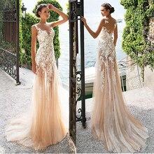 Marvelous Spitze Bateau Ausschnitt Sehen durch Mantel Brautkleider Mit Spitze Appliques Champagne Brautkleid mit Farbe