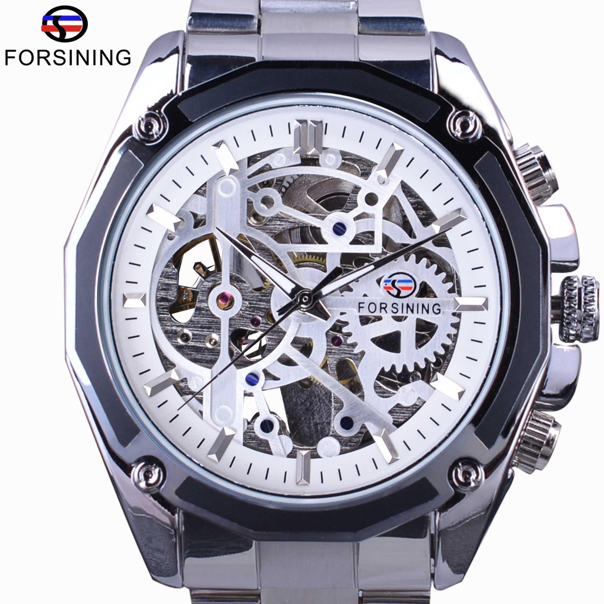 Us25 Steampunk Waterproof Automatische Herren Marke Getriebe Design Skeleton 99forsining In Silber Luxus Mechanische Armbanduhr Top Uhren Stahl fg6Ybv7y