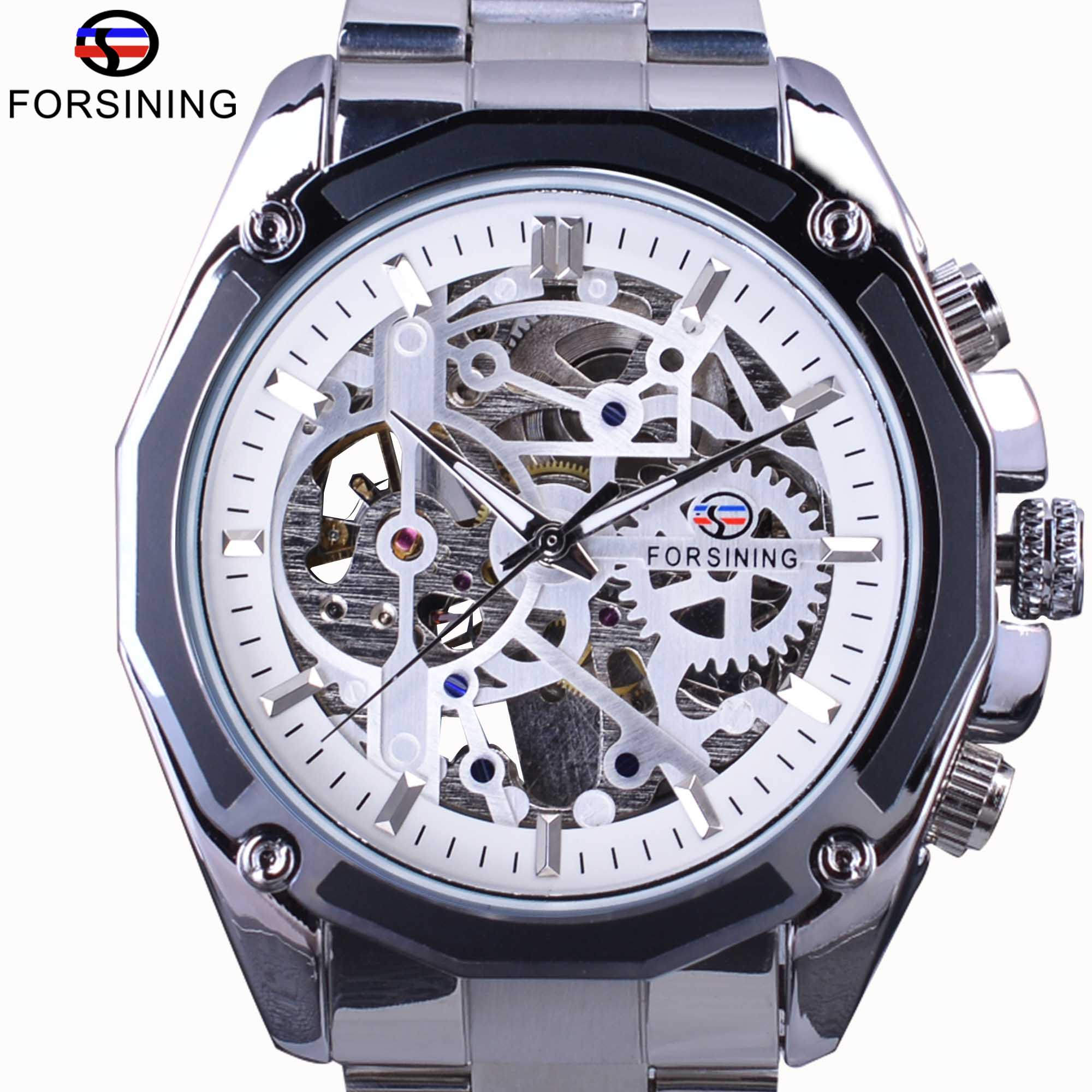 skeleton store brand wrist silver mens steampunk stainless gear mechanical top forsining product watches design steel automatic luxury