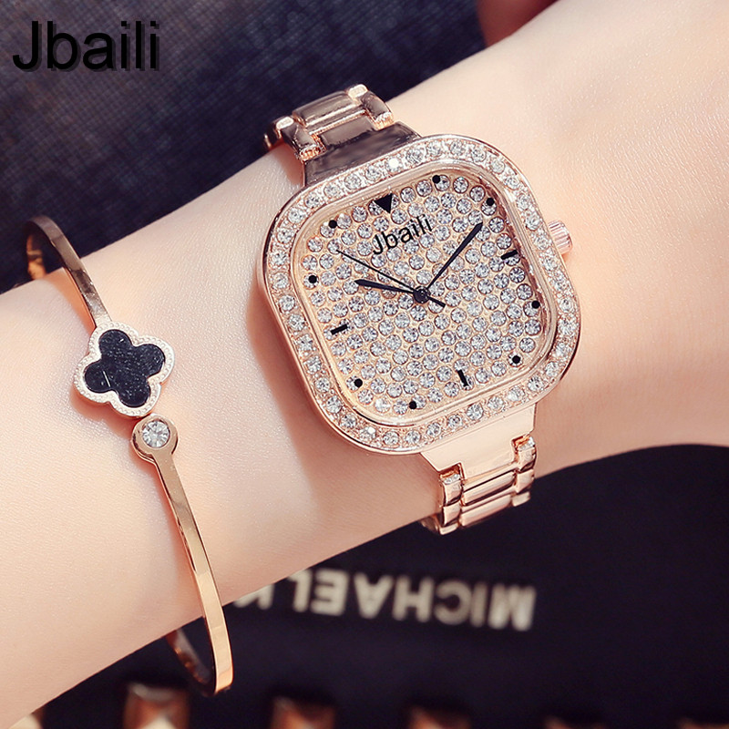 2017 Luxury Brand Bling Rhinestone Steel Quartz Womens Watch Fashion Square Crystal Dial Rose Gold Ladies Dress Wristwatch Gifts