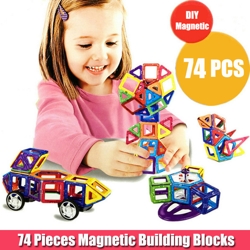 74pcs Ferris Wheels And Car Set Kids Magnetic Block Toy For Children Construction Building Toy Set Kids DIY Educational Toy kids pedal go kart ride on rubber wheels sports racing toy trike car ricco