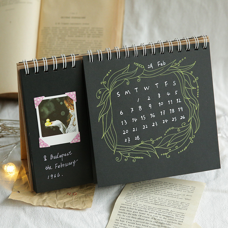 Black card, blank desk calendar, black paper, DIY hand painted high quality painting, handwritten Wooden paper, simple and impri