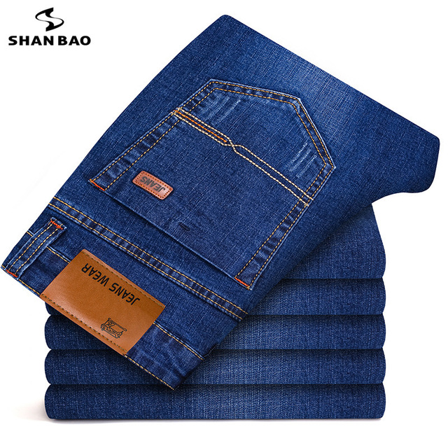 SHANBAO Men's Brand Straight Casual Jeans 2019 Spring New Style Comfortable Soft Cotton Stretch Jeans Large Size 28-42 trousers