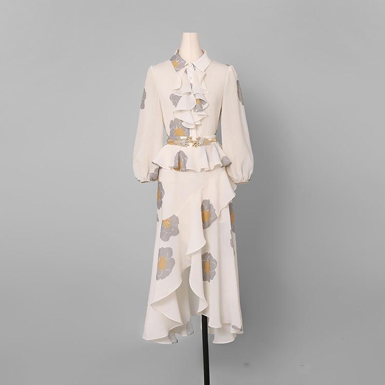 Femmes Mode Printemps Costume Wreeima Ensemble down 2 Beige Lanterne Collar Élégante Jupe Shirt Turn Jupes 2019 amp; Manches Mousseline Pièces Ruffles qEtqnS