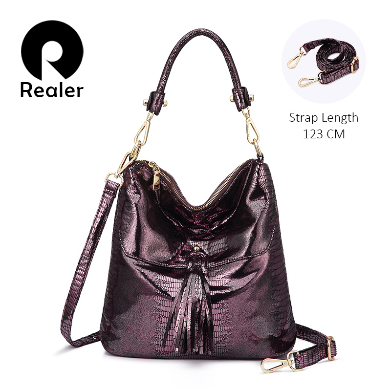 REALER Women Shoulder Bag Strap Artificial Leather Messenger Crossbody Bags High Quality Ladies Handbags Totes Animal Print