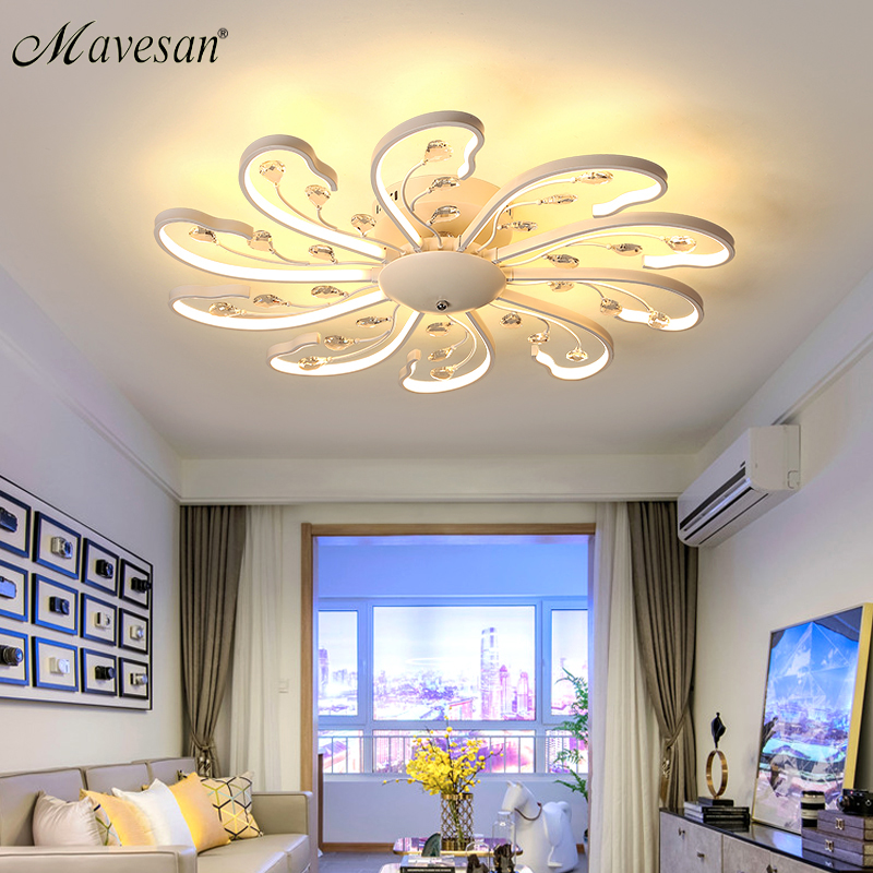 2018 flush mount ceiling light fixture for bedroom dimmer ceiling lamp acrylic aluminum body lampe plafond for 8-35square meters