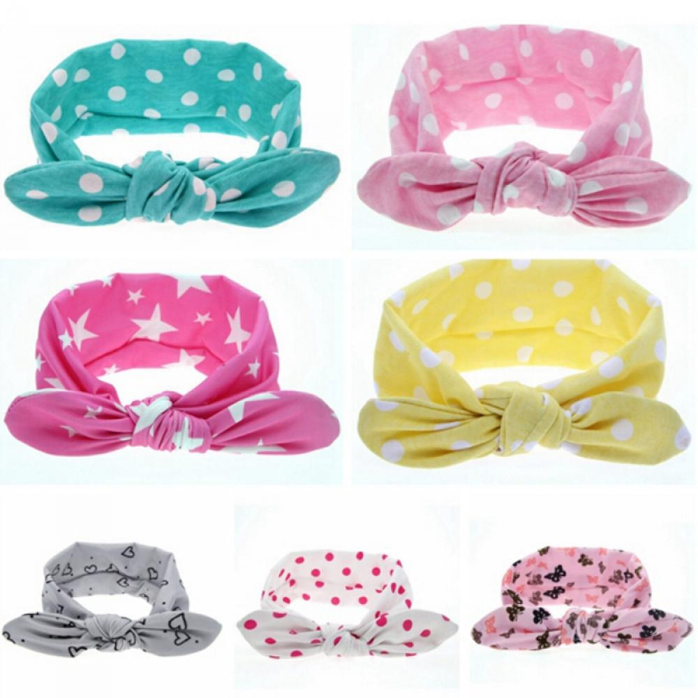 1PC Colorful Fashion Baby Girls Boys Knot Headband Children Rabbit Ear Turban Elastic Dots Printing Cotton Hair Bands