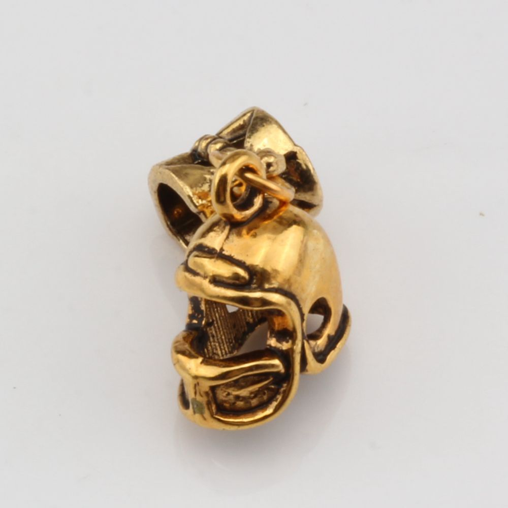 MIC 100pcs Antique gold 3D Small Football Helmet Charms Dangle Bead Fit Charm Bracelet DIY Jewelry 12 x24mm nm336