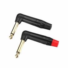 цена на 5PCS Right Angle 6.35 2Pole Mono Jack Plug 6.35mm Guitar Audio Plug