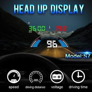 """Image 5 - 5.8 """"voiture style S7 HUD GPS compteur de vitesse OBD2 voiture tête haute affichage véhicule excès de vitesse avertissement consommation de carburant température de leau tr/min"""