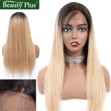 Blonde Lace Front Human Hair Wigs Brazilian Straight Hair Beauty Plus Remy 27 Honey Blonde Dark Roots Ombre Human Hair Lace Wigs