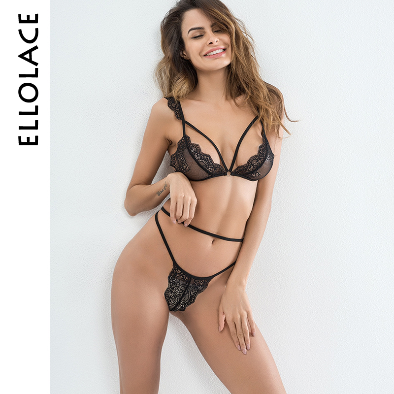 Ellolace Sexy Lingerie Set For Women Lace Strappy Bra Mesh Transparent Lace Underwear Set V-String Thongs Fantasy Bra Set 2018