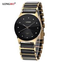 LONGBO Top Brand Fashion Ceramic White Gold Strap Couple Wristwatch Men Women Quartz Waterproof Female Clock
