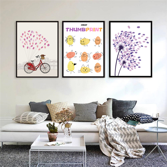 Amazing Canvas Painting Nordic Hand Drew Paper With No Frame ...