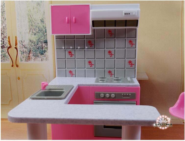 Image 2 - Newest For Barbie Furniture Miniature Combo Kitchen play set Doll dream House diy toytoy ringkitchen ledkitchen sinks taps direct -