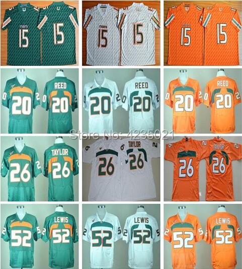 2018 Miami College Jerseys 15 Brad Kaaya 26 Sean Taylor 52 Ray Lewis 20 Ed Reed Stitched ...