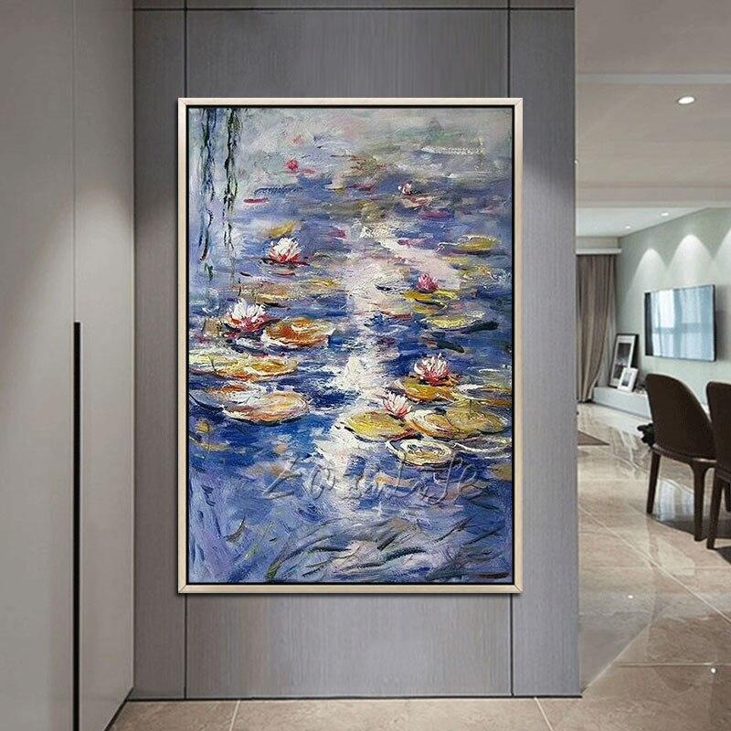 Claude Monet peinture à l'huile toile peinture lotus peinture mur art photos murales pour salon décor maison caudros decoracion19