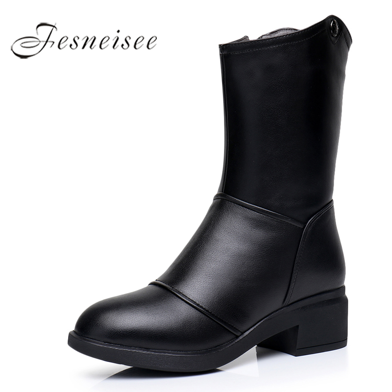 2017 New Winter Mid Calf Boots Woman Shoes Genuine Leather Boots Round Toe Low Heels Boots High Quality Shoes Size 34-43 M4.0 smirnova big size 34 43 fashion shoes woman round toe women boots zip low heels mid calf boots natural genuine leather boots
