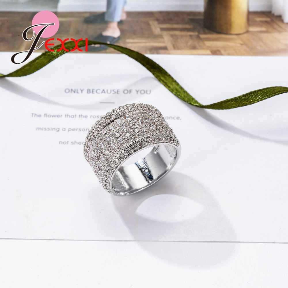 Brilliant Cubic cyrkon szeroki obrączki prawdziwe 925 srebro kryształ ślub biżuteria zaręczynowa dla kobiet Brides prezent