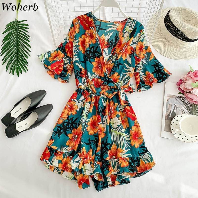 Woherb Summer Boho Playsuits Women Short Wide Pants Bandage Jumpsuit Ruffles Elastic Waist Loose Rompers Casual Overalls Mujer
