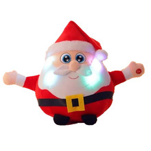 22CM Light Up LED Sing a Christmas song Colorful Glowing Luminous Plush Santa Claus Stuffed Doll Toys Lovely Gifts for Kids