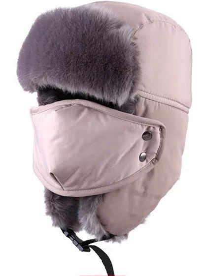 42c6dc1b6d7 ... Waterproof Super Warm Trapper Trooper Russia earflaps bomber faux fur  lining ski hat cap women men ...