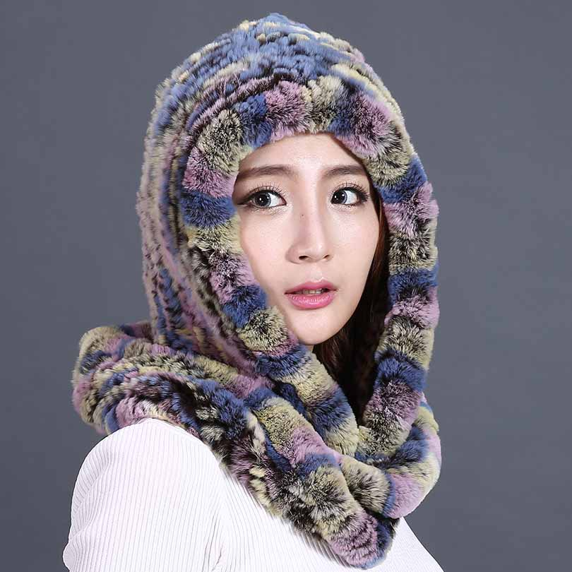 ФОТО Real Rex Fur Hat And Scarf For Women 2016 New Fashion Beanies Warm Unique Thick Cute Female Genuine Rabbit Fur Winter Hats Caps