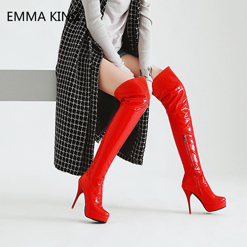 Red Over The Knee Boots Women Platform Thigh High Boots Black Patent Leather Stiletto High Heel Round Toe Long Boots FootwearRed Over The Knee Boots Women Platform Thigh High Boots Black Patent Leather Stiletto High Heel Round Toe Long Boots Footwear