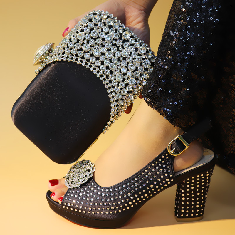 New coming black with stones party high heel shoes with purse bag set nice matching for dress 99638-4 , heel height 9.3cmNew coming black with stones party high heel shoes with purse bag set nice matching for dress 99638-4 , heel height 9.3cm