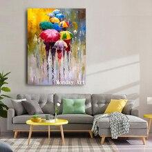 Большая картина, ручная роспись, любовник, дождь, пейзаж, картина маслом на холсте, настенные художественные картины для гостиной, домашний декор, лучший подарок