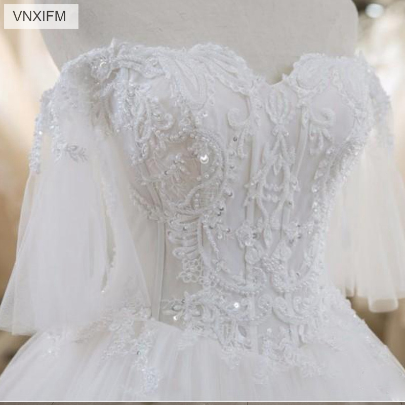 VNXIFM Latest A Line Wedding Dresses Lace Appliques Sexy Back With Lace up Charming Bridal Dresses Custom Made Wedding Gowns in Wedding Dresses from Weddings Events