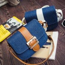 2016ใหม่ผ้าใบกระเป๋าผ้ายีนส์ผู้หญิงแฟชั่นสีทึบกระเป๋าสะพายกระเป๋าจับคู่ง่ายสำหรับวาเลนไทน์