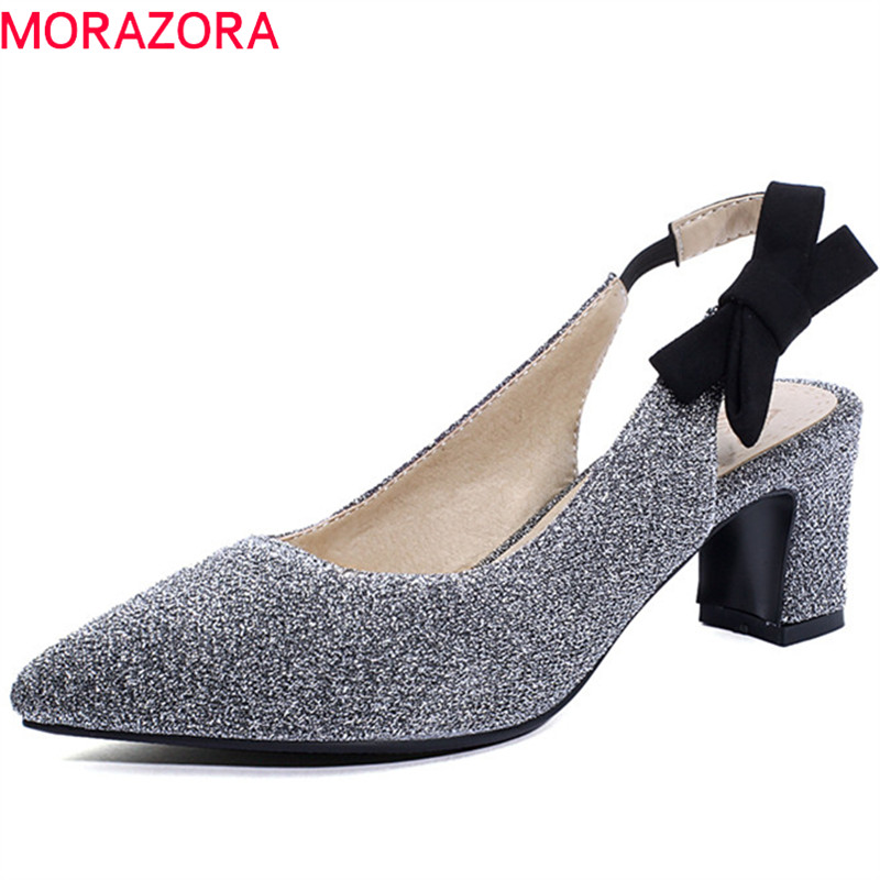 MORAZORA 2019 Plus Size 48 Women Pumps Mixed Colors Pointed Toe Summer Shoes Bowknot High Heels Shoes Ladies Prom Shoes Red