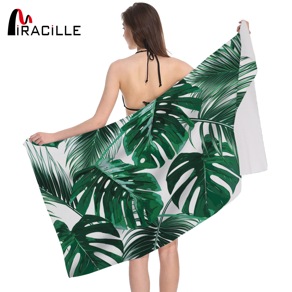 Miracille Summer Beach Towel Tropical Plants Leaves Design Bath Absorbent Drying Microfiber Travel